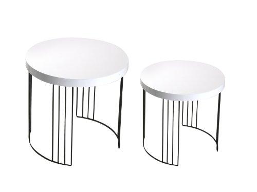 Juego de 2 mesas auxiliares, de madera y metal, 55 x 55 x 55 cm, color