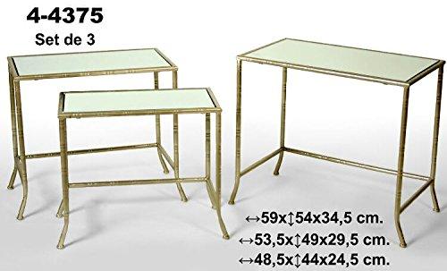 Set de 3 mesas rectangulares de metal doradas con balda de cristal. Oc