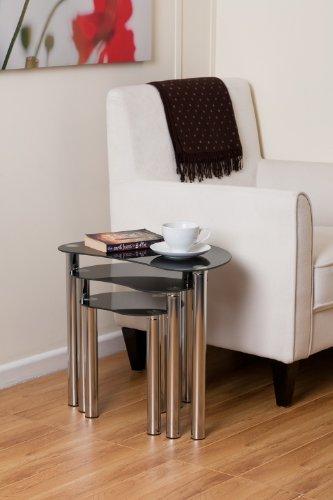 Set de mesas auxiliares (patas cromadas, 3 unidades), color negro. Sal