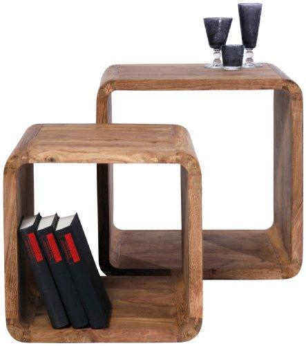 Mesas auxiliares con forma de cubo, tablero DM (2 unidades, 42 x 40 x