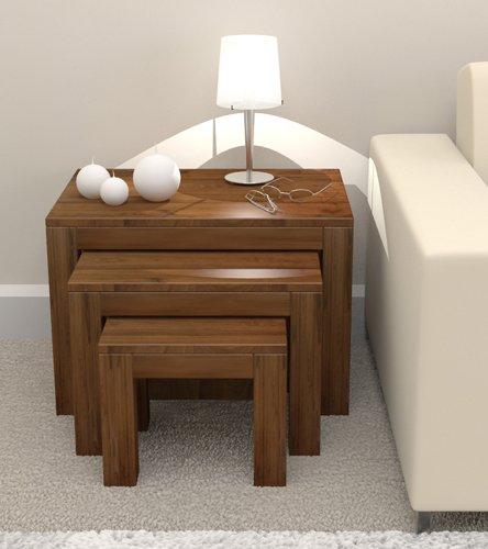 Set de mesas auxiliares en nido (3 unidades), color nogal