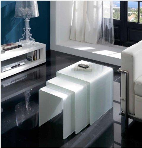 Mesas auxiliares nido cristal blanco