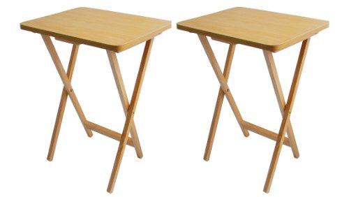 Juego de 2 mesas auxiliares plegables (madera chap..