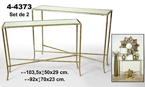 Set de 2 mesas rectangulares de metal doradas con estantería de crista