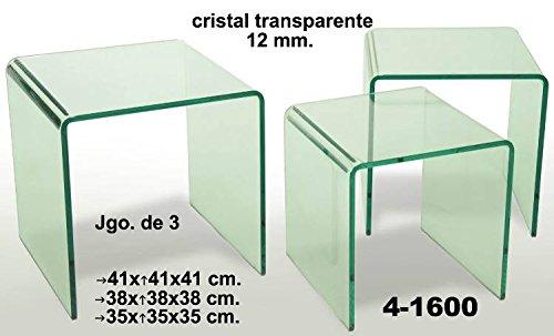 Set de 3 mesas de cristal transparente cuadradas de estilo moderno. Sa