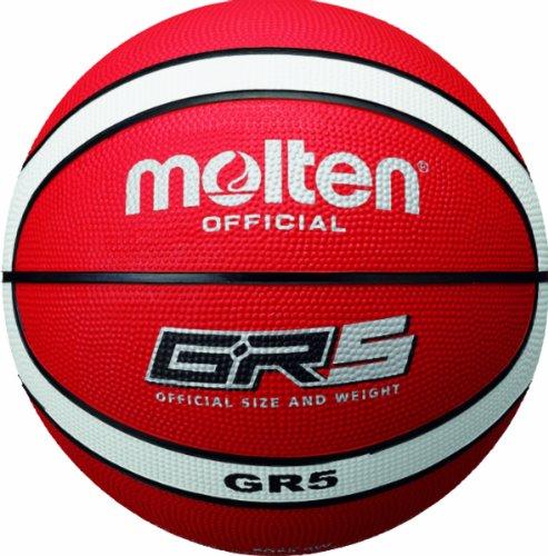 Pelota de baloncesto, color rojo / blanco, talla 5. Saldo