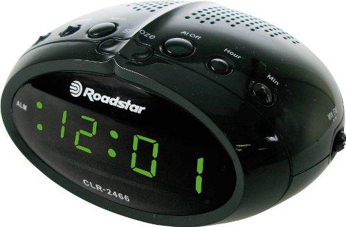 Radio despertador con radio FM, color negro. Oferta
