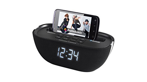 Radio despertador Bluetooth, color negro. Oferta