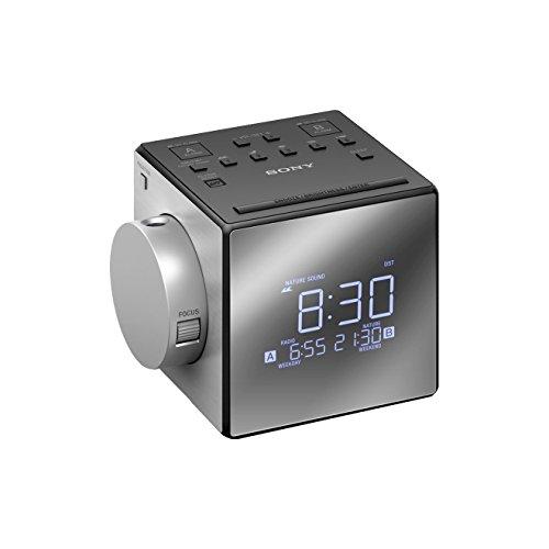 Radiodespertador con proyector (AM/FM, alarma dual, mono), plateado