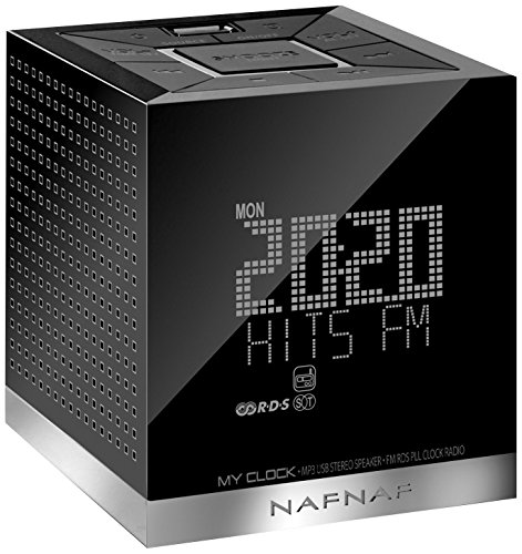 Radio despertador, color negro. Oferta