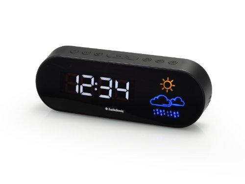 Radio despertador con previsión meteorológica, color negro (importado)