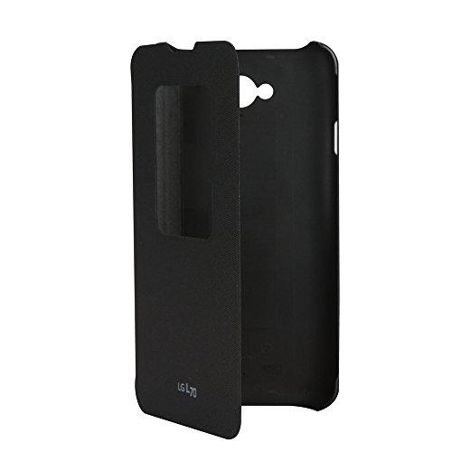 Funda con tapa y venta para LG L70, negro. Oferta