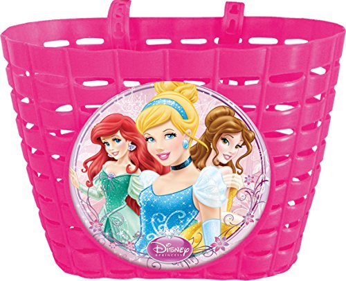 Cesto para bicicleta infantil, diseño de Princesas Disney, color rosa