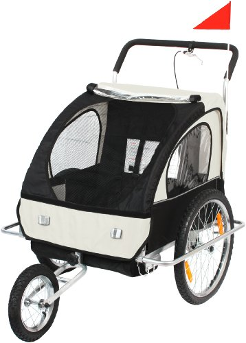 Cochecito infantil para remolque de bicicleta, color blanco con descue