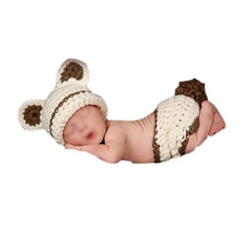 SODIAL (R) Ninos bebe del traje de punto de ganchillo gorrita tejida F