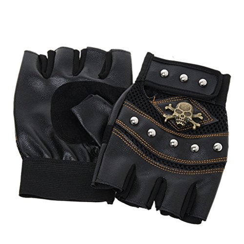 Hangqiao Guantes medio dedo guantes craneo hombre ..