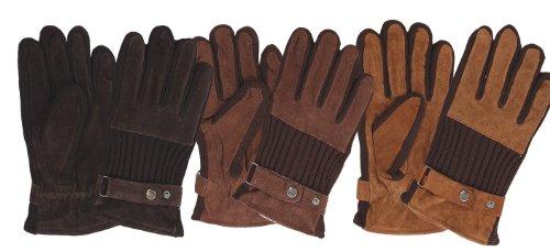 Guantes de cuero guantes de invierno de piel de ante negro y marrón