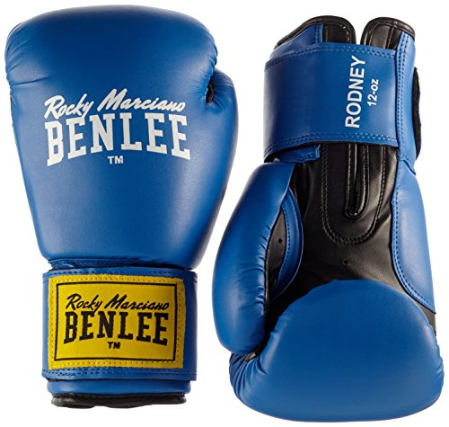 Guante de boxeo (PVC), color azul/negro, talla 14. Oferta