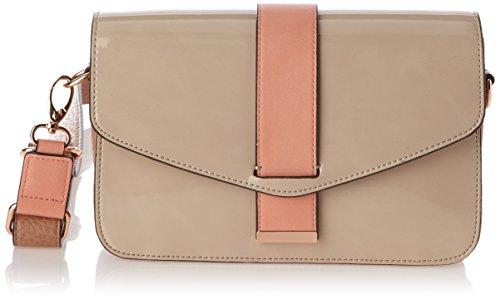 Bolso de mano de material sintético mujer, color beige, talla 34x14x7