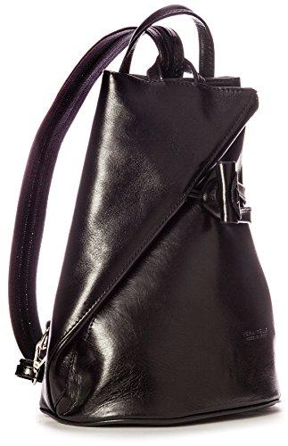 Bolso mochila  de cuero para mujer One, color negro, talla One. Saldo