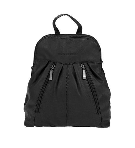 Bolso mochila  de cuero para mujer negro negro 26x28x10 cm (BxHxT) con