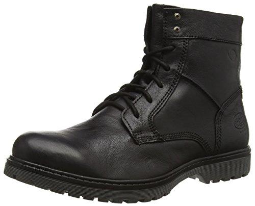 Botas de combate de cuero hombre, color negro, talla 41. Saldo